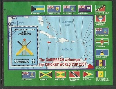 DOMINICA 2007 ICC CRICKET WORLD CUP FLAGS MAP Souvenir Sheet FINE USED