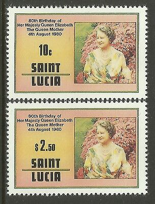 ST LUCIA 1980 80th Birthday QUEEN ELIZABETH QUEEN MOTHER 2v MNH
