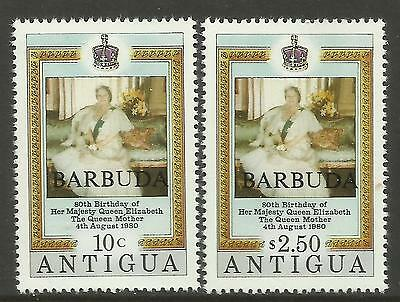 BARBUDA 1980 80th Birthday QUEEN ELIZABETH QUEEN MOTHER 2v MNH