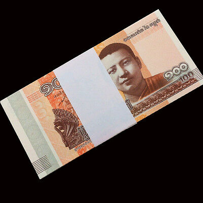 Full Bundle 100 PCS, Cambodia 100 Riels, 2014 / 2015, P-New, UNC, Lot Pack