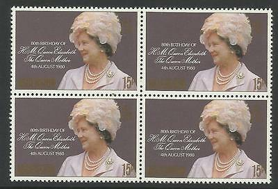ASCENSION IS 1980 80th Birthday QUEEN ELIZABETH QUEEN MOTHER Block of 4 MNH