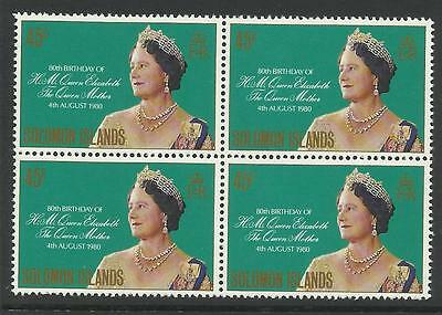 SOLOMON IS 1980 80th Birthday QUEEN ELIZABETH QUEEN MOTHER Block of 4 MNH