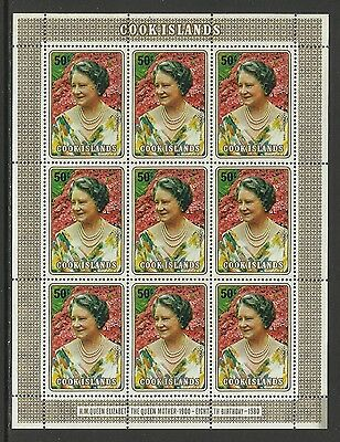 COOK IS 1980 80th Birthday QUEEN ELIZABETH QUEEN MOTHER Sheet of 9 MNH