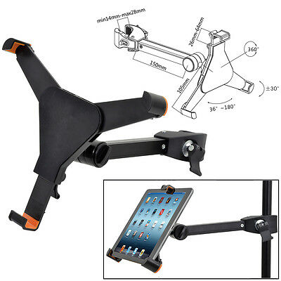 Universal Tablet Holder Clamp (Android, iPad or Tablet) To Fit Microphone Stand