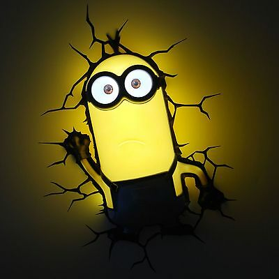 Despicable Me Minions Kevin 3D Deco Led Wall Light + Crack Sticker New