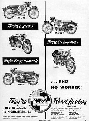 "1956 Norton Model ES2 50 88 & 99 Motorcycle ""No Wonder"" Original Ad"