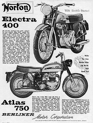 "1963 Norton Electra 400 & Atlas 750 Motorcycle ""All New"" Original Ad"