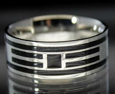 Mens Womens Multi Striped Stainless Steel Ring Comfort Fit 8mm