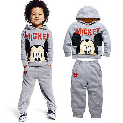 2pcs Kids Boy Mickey Mouse Hoodies Pants Outfit Sets Baby Children Clothes Suits