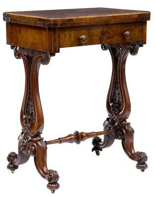 19Th Century Victorian Carved Burr Walnut Games Occasional Table