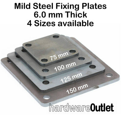 MILD STEEL Square FIXING PLATE 75, 100, 125 & 150 mm  Laser Cut 4 Holes