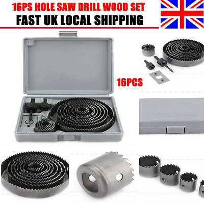16Ps Hole Saw Kit Metal Circle Cutter Round Drill Wood Alloy Fr Drill 19-127Mm