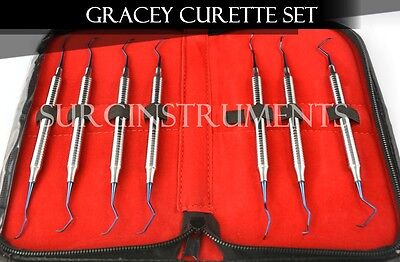 7 Titanium Coated Gracey Curettes With Zipper Case - Medical Dental Surgical