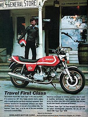 """1978 Ducati 900 Super Tiger Motorcycle """"Travel First Class"""" Original Color Ad"""