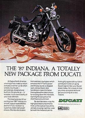 """1987 Ducati Indiana Motorcycle """"Totally New Package"""" Original Color Ad"""