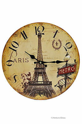 "13"" Large Wood Vintage-Style French Metro Eiffel Tower Paris Wall Clock"