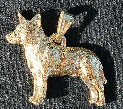 AUSTRALIAN CATTLE DOG 24K Gold Plated Pewter Pendant Jewelry USA Made