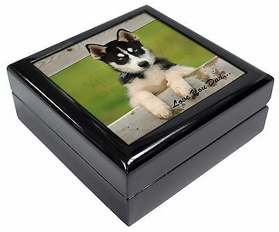 Husky Pup 'Love You Dad' Keepsake/Jewellery Box Christmas Gift, DAD-56JB