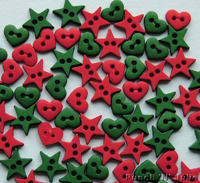 CHRISTMAS GARLAND SHAPES - MICRO MINI Hearts Stars Dress It Up Craft Buttons