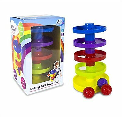 First Steps Five Tier Rolling Ball Tower with 3 Balls Perfect for Development