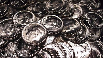(50) Mixed Date Roosevelt Dime Roll ~ BU Uncirculated ~ 90% Silver US Coin Lot