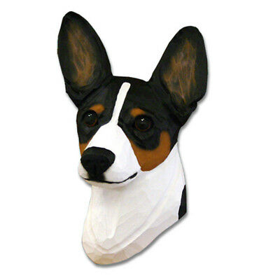 Rat Terrier Head Plaque Figurine Tri