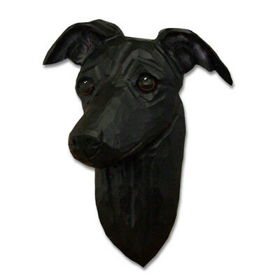 Italian Greyhound Head Plaque Figurine Black