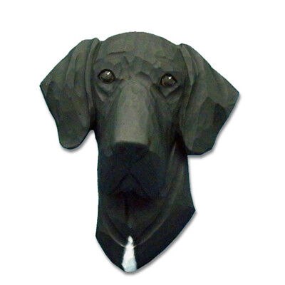 Great Dane Head Plaque Figurine Black Uncropped