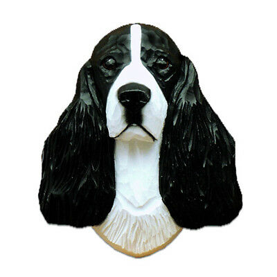 English Springer Spaniel Head Plaque Figurine Black