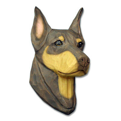 Doberman Pinscher Head Plaque Figurine Red/Tan