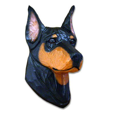 Doberman Pinscher Head Plaque Figurine Black/Tan