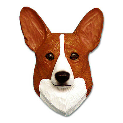 Corgi Head Plaque Figurine Red Pembroke