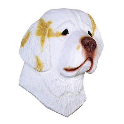 Clumber Spaniel Head Plaque Figurine Lemon