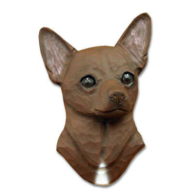 Chihuahua Head Plaque Figurine Brown