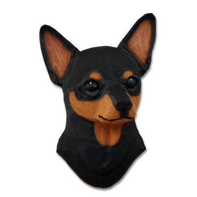 Chihuahua Head Plaque Figurine Black/Tan