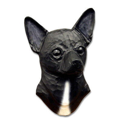 Chihuahua Head Plaque Figurine Black