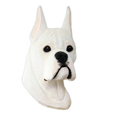 Boxer Head Plaque Figurine White