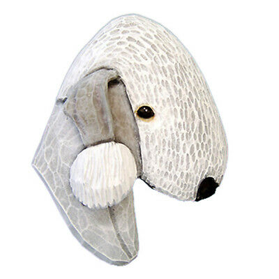 Bedlington Terrier Head Plaque Figurine White
