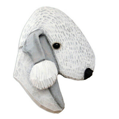 Bedlington Terrier Head Plaque Figurine Blue