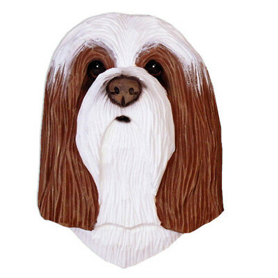 Bearded Collie Head Plaque Figurine Brown/White