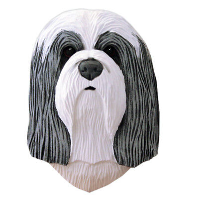 Bearded Collie Head Plaque Figurine Blue/White