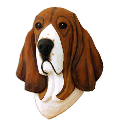 Basset Hound Head Plaque Figurine Tri