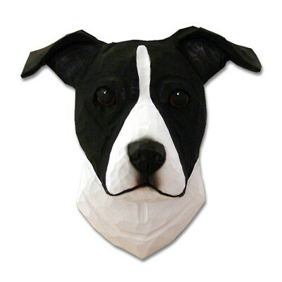 Am.Staffordshire Terrier Head Plaque Figurine Black/White Uncropped
