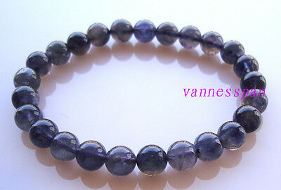 Natural Iolite Round Beads Stretch Bracelet 8mm