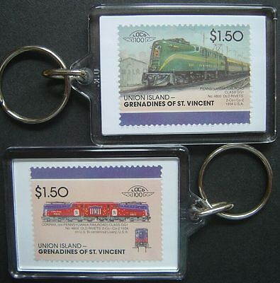 1934 Pennsylvania Railroad (PR) OLD RIVETS Train Stamp Keyring (Loco 100)