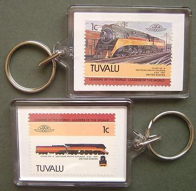 1941 SP Southern Pacific Railroad Class GS-4 Train Stamp Keyring (Loco 100)