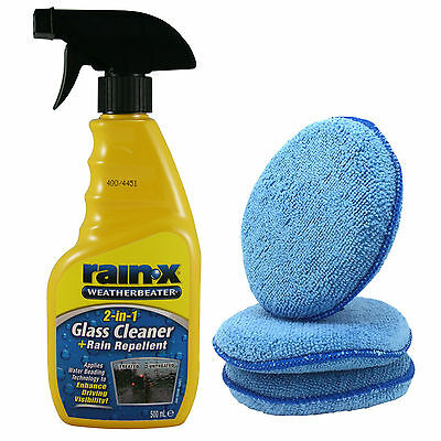 Rain X 2in1 Glass Cleaner Rain Water Repellent 500ml Spray + 3 Microfibre Pads