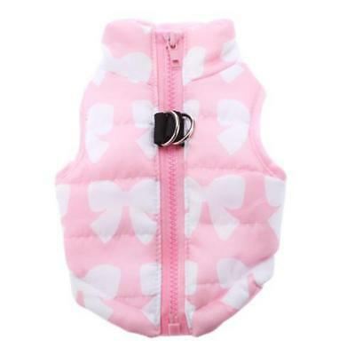 Pink Pet Dog Clothing Padded Vest Harness Puppy Small Dog Coat Clothes XS
