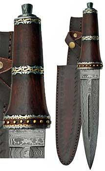 Dirk Wood Damascus Athame Dagger Ritual Wicca Pagan Knife Celtic Druid Sword