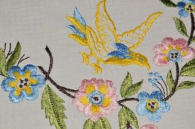 Spring Birds In Flight Among The Flowers! Vtg German Tablecloth Easter